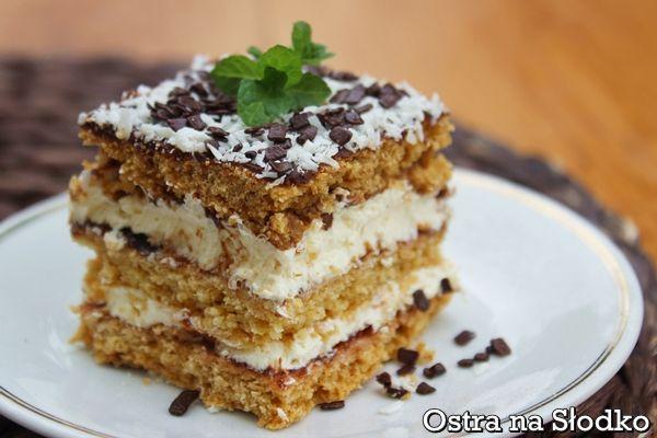 ciasto czeskie , grysikowe , grysikowiec , ciasto miodowe , krem smietankowy , ostra na slodko , ciasto przekladane  2xxxx