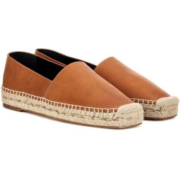 Balenciaga Leather Espadrilles (€555) ❤ liked on Polyvore featuring shoes, sandals, balenciaga, espadrilles, brown, balenciaga sandals, leather espadrille sandals, genuine leather shoes and leather footwear