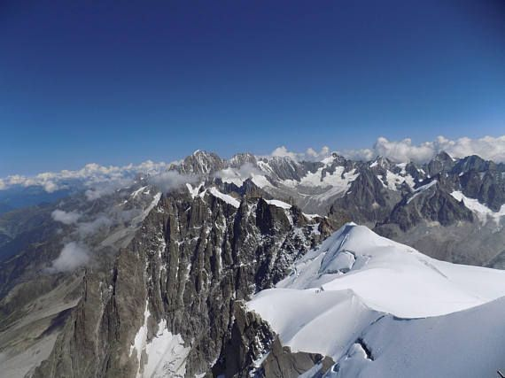 Panorama from Aguille du Midi almost at Mont Blanc wall