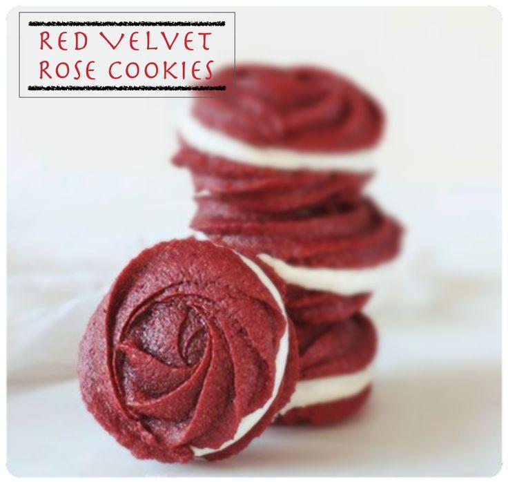 Red Velvet Rose Cookies
