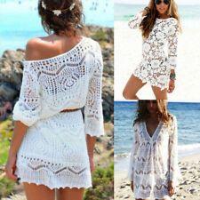Women Bathing Suit Lace Crochet Bikini Cover Up Swimwear Summer Beach Dress uk 2