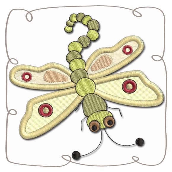 Dragonfly Applique Machine Embroidery Design Pattern-INSTANT DOWNLOAD