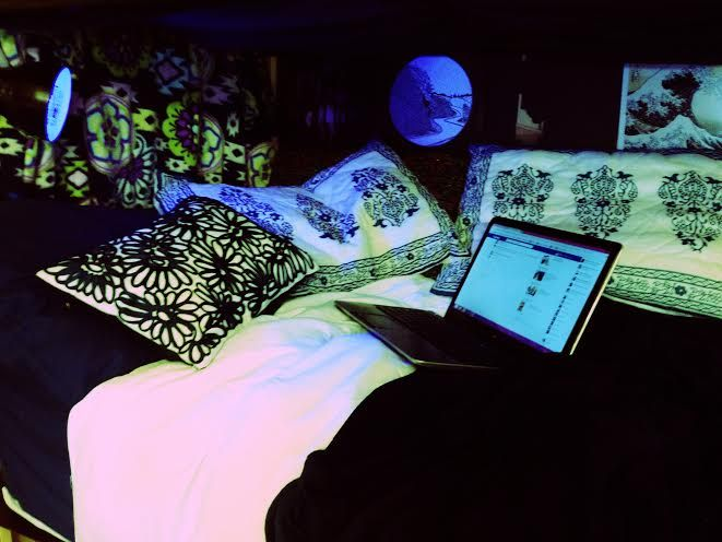 This is what I did with my bottom bunk in our dorm room  ~ 060819_Blacklight Dorm Room Ideas