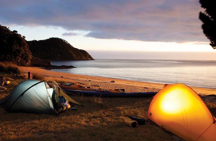 Camping on the beach on the Abel Tasman Coast Track