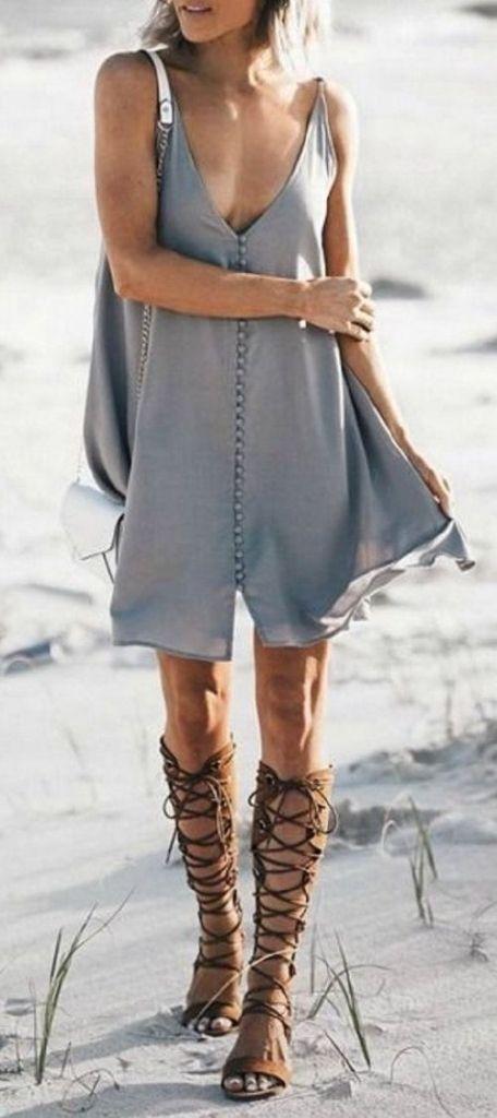 #summer #outfits / gray dress