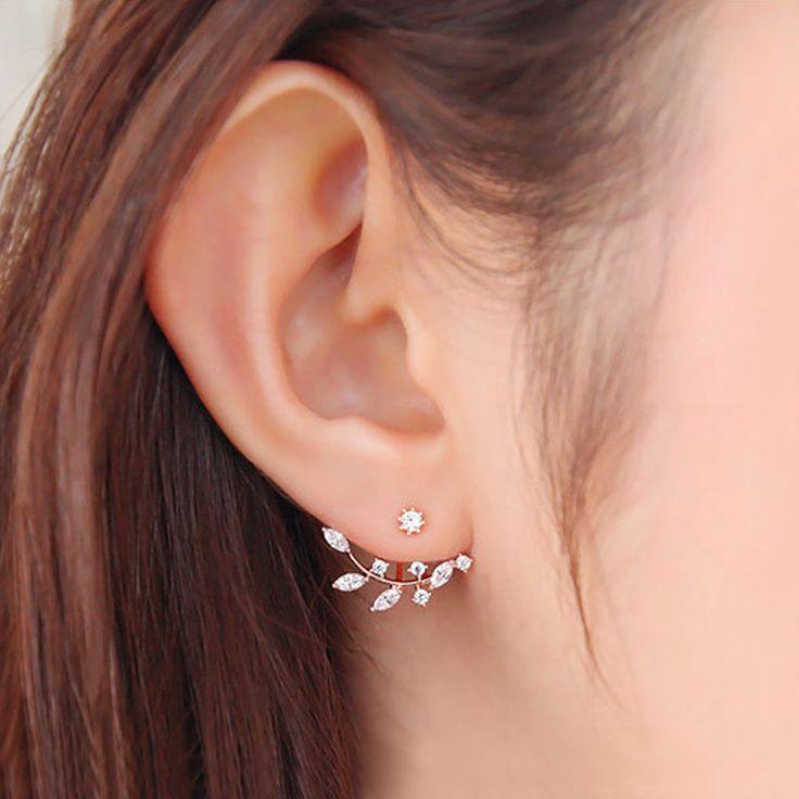 Needle Zircon Stud Earrings for Women Leaf Golden Silver Ear Jacket