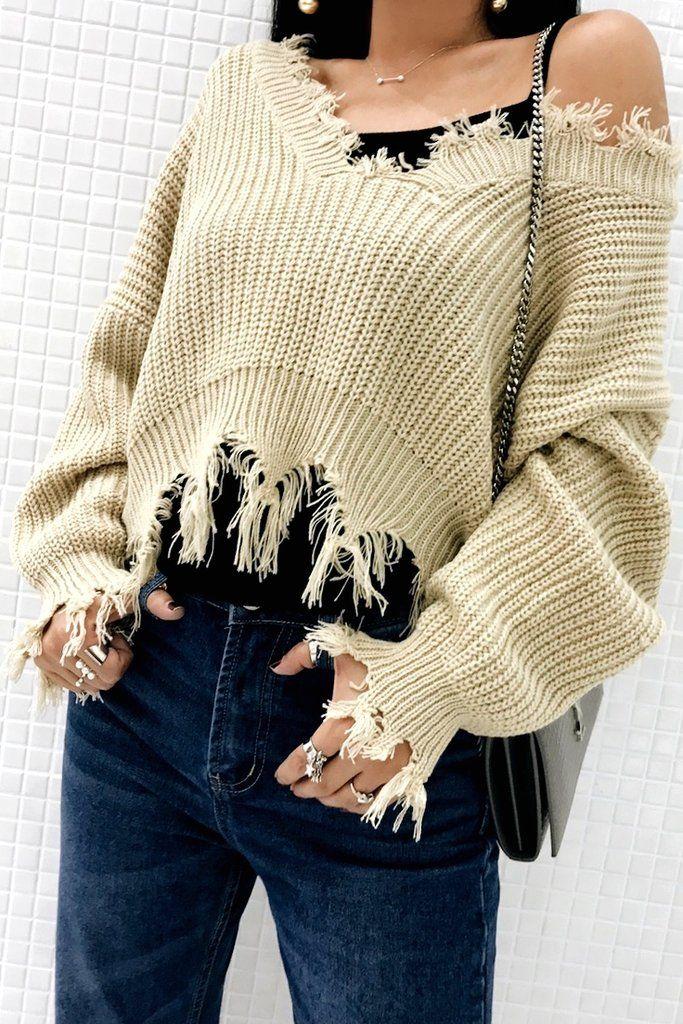 Khaki V Neck Irregular Ripped Hem Sweater – Lupsona ce2b4356d