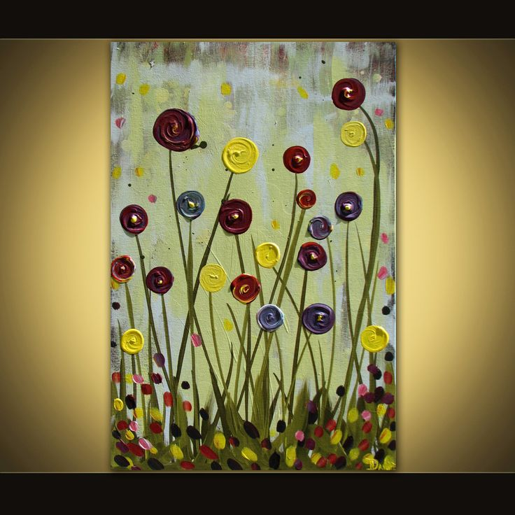 flower Paintings On Canvas | Original flower painting abstract acrylic on canvas 24x36 huge