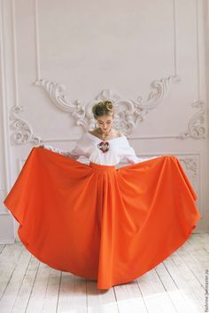 Купить Оранжевая юбка-макси. - рыжий, оранжевый, юбка макси, юбка в пол, длинная юбка