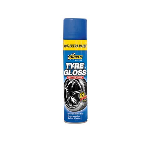 Tyre Gloss Extra Value Tyre Gloss is formulated to clean and deep shine tyres leaving them with a rich, ultra black, glossy finish. This foam application is easy to apply and dries quickly leaving a lond lasting protective barrier that will guard against road grime, environmental contaminants and oxidization. Tyre Gloss restores tyres to their original showroom shine and finish.  SH671 (560ml)