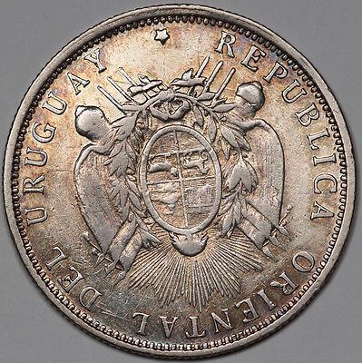 1894 Уругвай 50 сентимос 12.5 грамм 90.0% серебряная монета xf + редкая