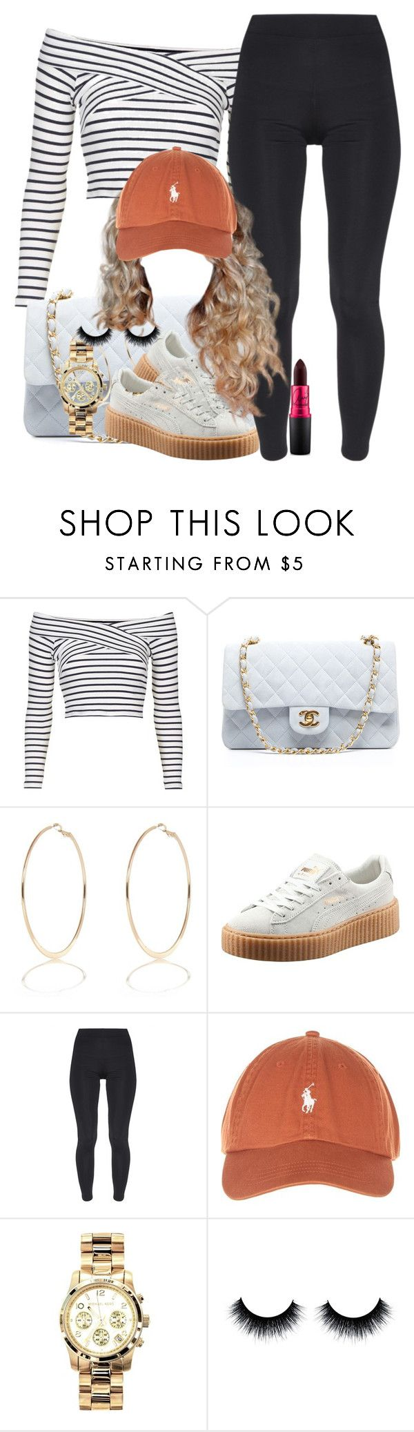 """""""in love with puma"""" by tyrionnak ❤ liked on Polyvore featuring Topshop, Chanel, River Island, Puma, TWISTY PARALLEL UNIVERSE, Michael Kors and MAC Cosmetics"""