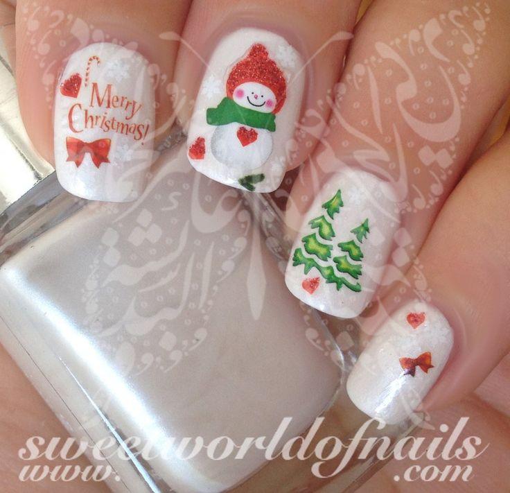 Christmas Nail Art Glittery Snowman Tree Nail Water Decals Transfers