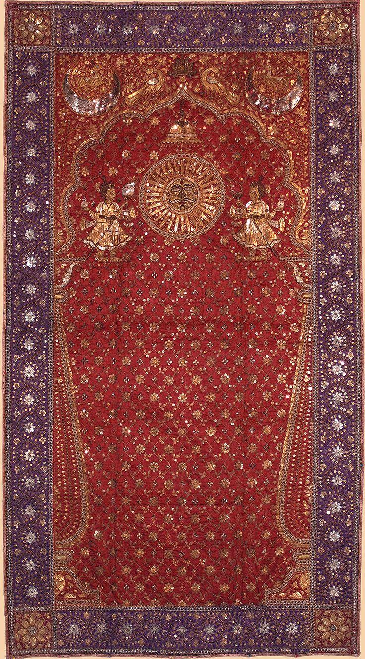 Indian Gold Embroidery, circa 1850 Rajestan or Gujarat Silk
