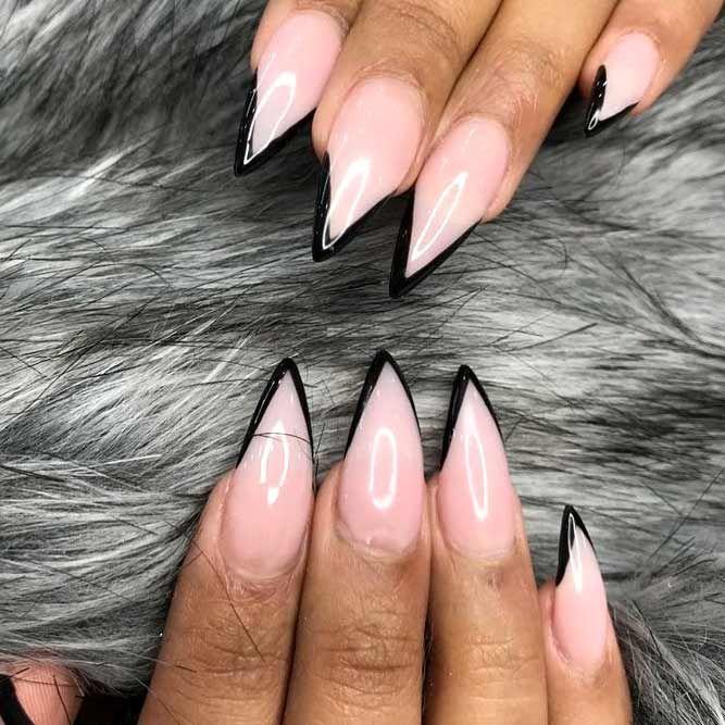 Inspiring Stiletto Nails To Win Over You Naildesignsjournal Com Black French Nails Stilletto Nails Stiletto Nails Designs