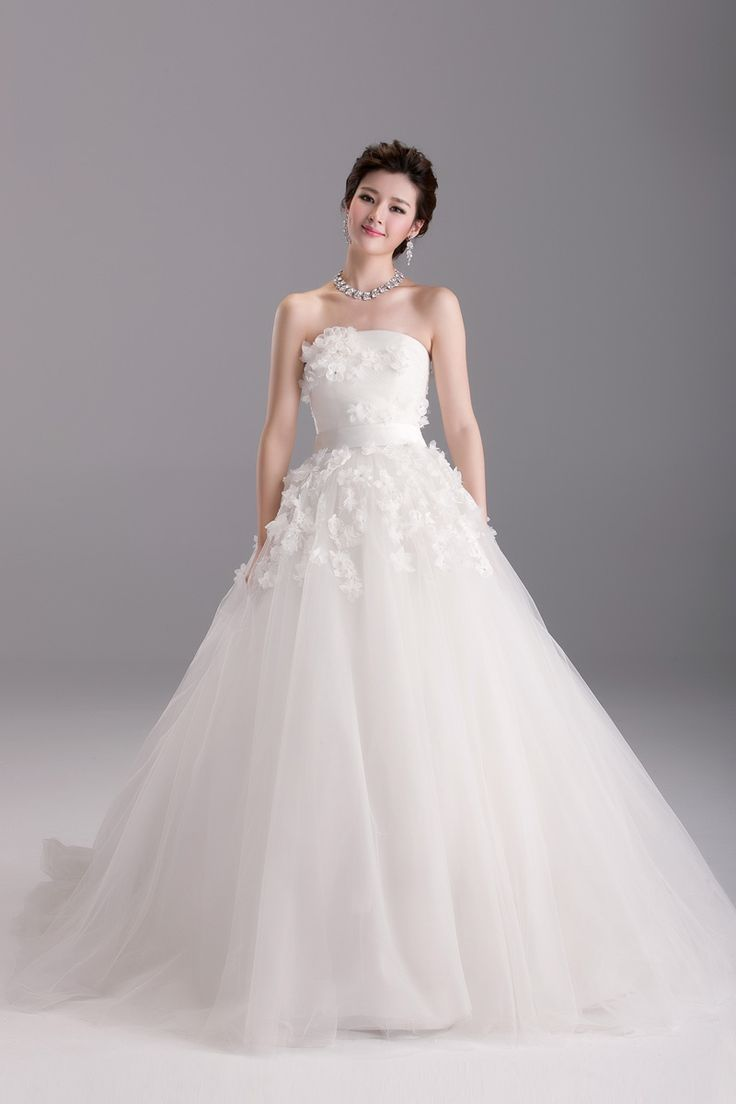 Strapless A-line with flower decoration A-line princess wedding dress