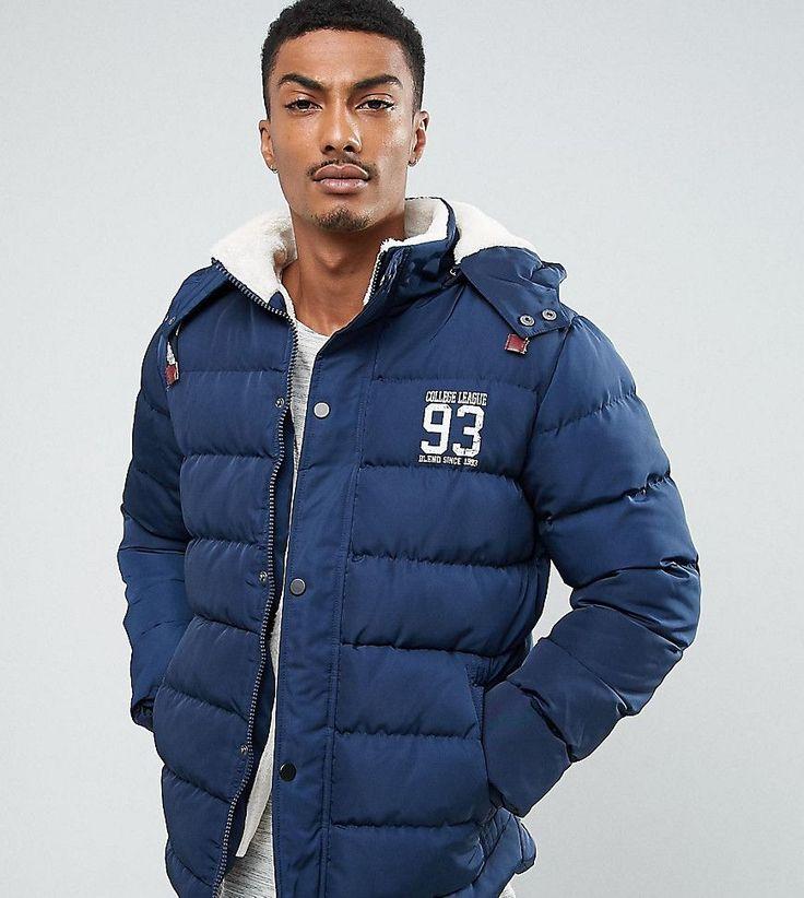 Blend Quilted Jacket Fleece Lining Hood - Navy