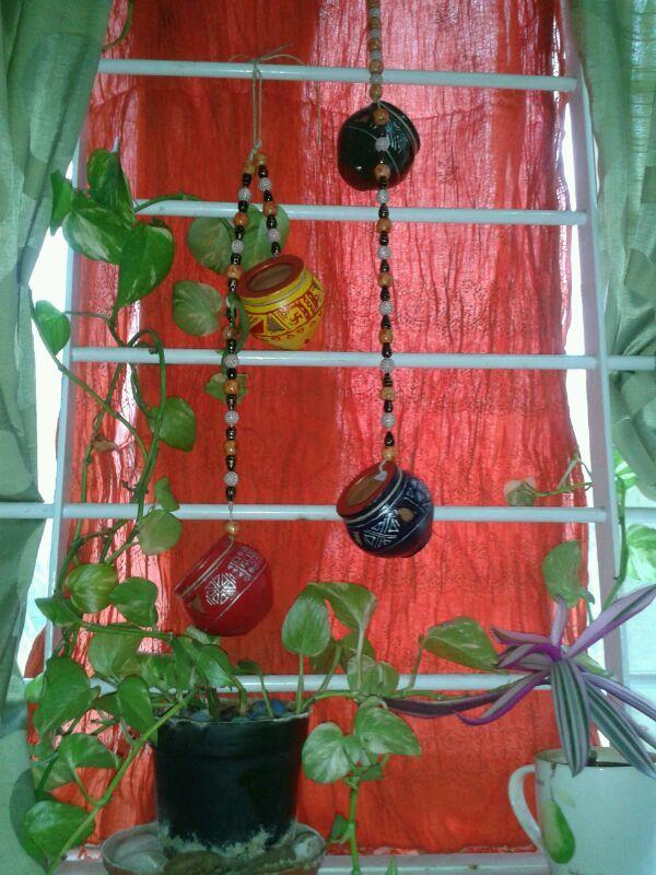 Hanging earthen pots https://www.facebook.com/Fingertipscrafts