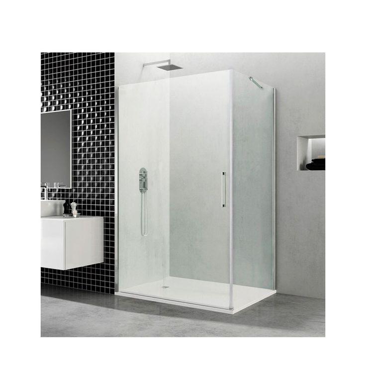 Mampara de ducha open puerta de cristal abatible con for Puerta de cristal abatible
