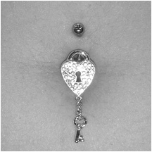 Lock and Key bellybutton ring (: