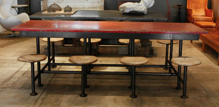 A French 8 Person Worktable   From a unique collection of antique and modern dining room sets at https://www.1stdibs.com/furniture/tables/dining-room-sets/