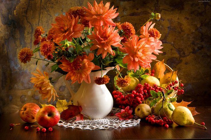 Wazon, Kwiaty, Serweta, Jabłka, Gruszki