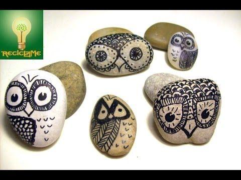 Como pintar un buho de la suerte sobre piedra de río - YouTube