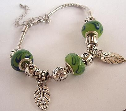 Bright Leaf Green and Silver Pandora Style Charm by MagniGallery, $19.99: Pandora Style, Style Charms