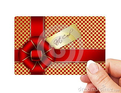 Hand holding gift card isolated over white background