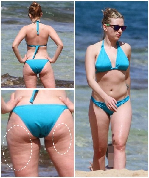Scarlett Johannson ... They're using this photo to shame her for her cellulite. Screw the bit of cellulite. To me in that same photo form the back she's got the perfect body shape. I like the shape of her bikini from the back too. Source: www.girlsaskguys.com