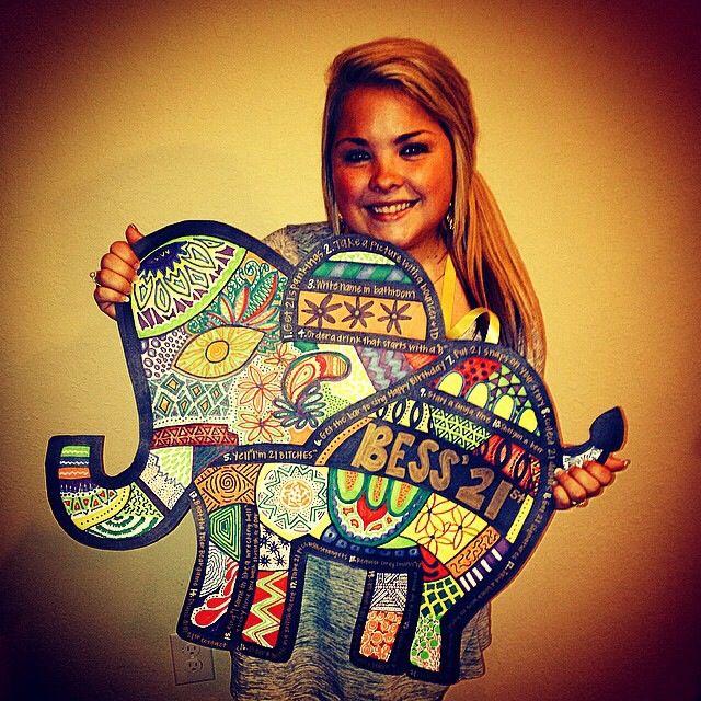21st birthday sign #elephant #birthday #21