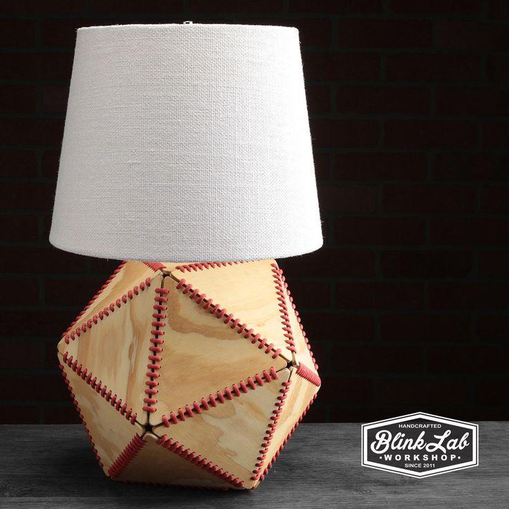 Stitched wood Icosahedron lamp 19 wood triangles
