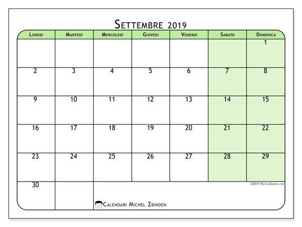 Calendario Appunti 2019.Calendari Da Stampare Datario Calendario Settembre E