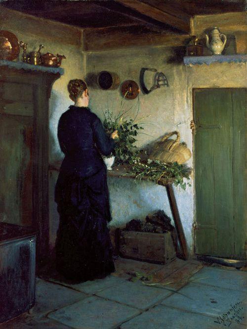 the-paintrist: Viggo Johansen -Kitchen interior (Køkkeninteriør) - 1884 From Madam Bendsen's farm in Skagen's West Town, where the painter and his family lodged several summers during the 1880s. Skagen Museum, Denmark