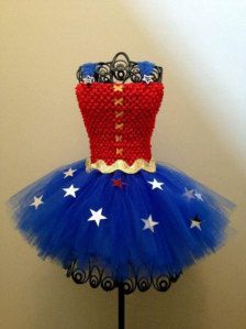 DIY wonder woman tutu costume soooo cute and not too releasing. I will never wear the bra and booty shorts.