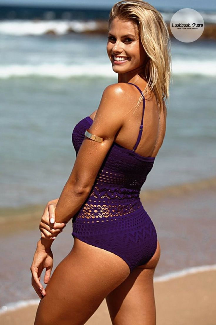 Most Wanted // Hit the beach this summer by opting for this pretty, flirty purple lace halter swimsuit.