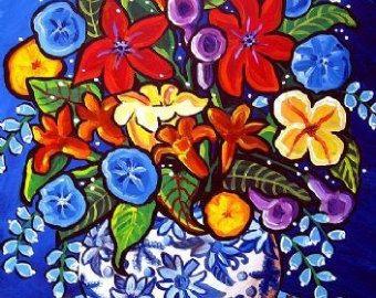 Verano ramo flores Whimsical colorido impresión arte popular lona impresión