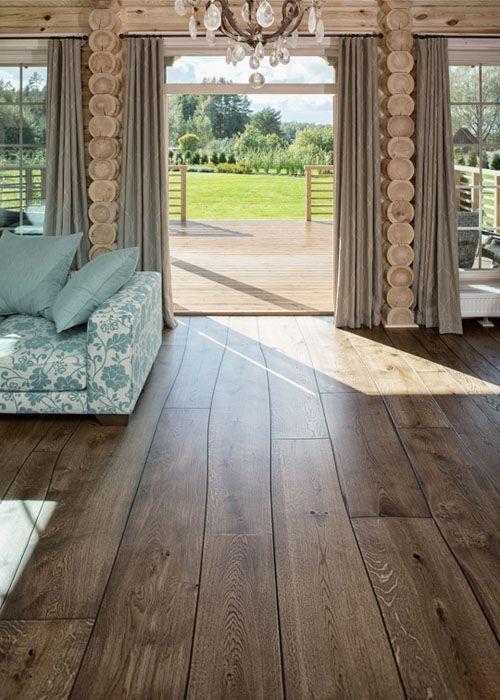 Love this rustic hardwood flooring