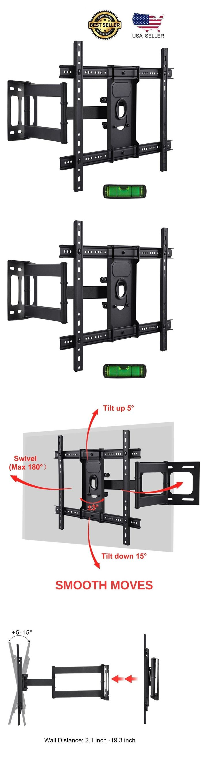 TV Mounts and Brackets: New Ultra Strong Full Motion Safty Tv Wall Mount Bracket For 37-65 Inch Led Lcd -> BUY IT NOW ONLY: $51.91 on eBay! #LCDtvwallmount