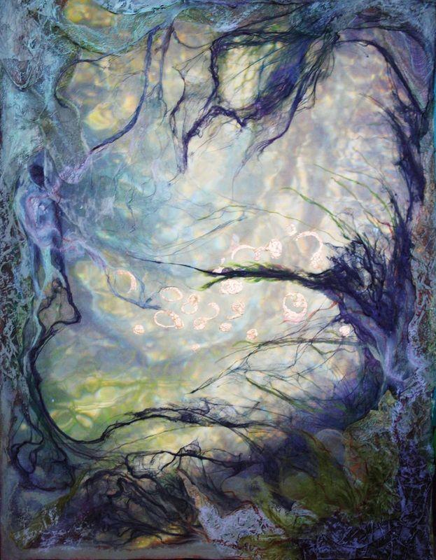 Artist: Julie Shackson ~ Abstract Art. Mixed Media ~ The artist creates a sense of texture through her mixed media design.