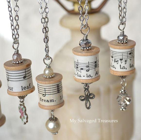 My Salvaged Treasures: Spool Necklaces and a Repurposed Lamp