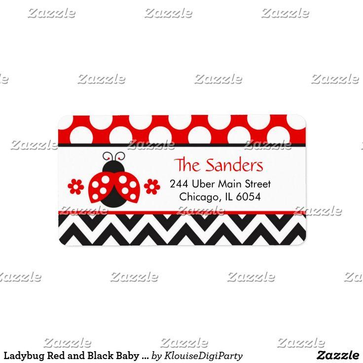 Ladybug Red and Black Baby Shower Label