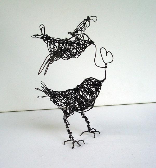 Two Birds, ONE LOVE - Wire Bird Sculpture