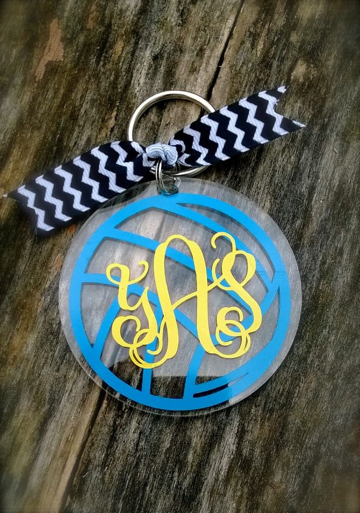 volleyball monogram personalized acrylic keychain key tag luggage tag back pack tag free