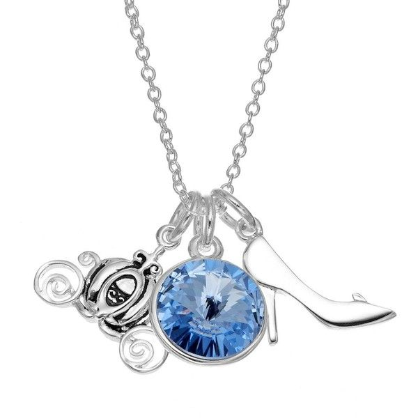 Disney's Cinderella Crystal Charm Necklace (£21) ❤ liked on Polyvore featuring jewelry, necklaces, white, crystal heart necklace, white crystal necklace, swarovski crystal charms, crystal charms and clasp charms