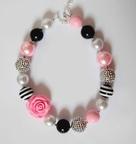 Pink Black Silver and White Chunky Bubblegum Necklace by NotesbySherryLLC
