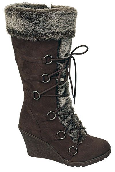 Women's Brown Wedge Heel Faux Suede Boot with Faux Fur and Side Zipper and Laces | eBay