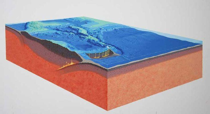 Gouache, block diagram, National Geographi, 07/97 painting - Monserrate Volcano