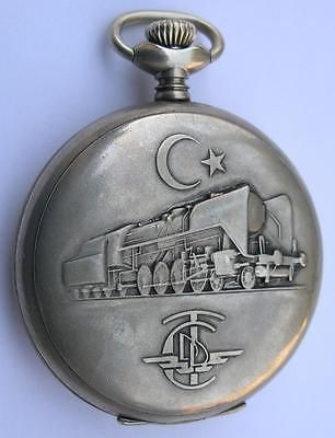 SACHAT OPEN FACE MEN'S  POCKET WATCH SWISS MADE 1960's FOR THE TURKISH RAILWAYS