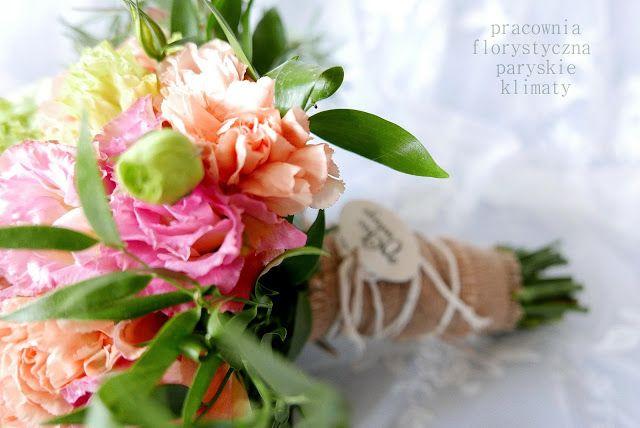 Brzoskwiniowo - różowy bukiet ślubny - Pracownia paryskie klimaty * Katowice  * tel. 608 290 453  * paryskieklimaty@gmail.com